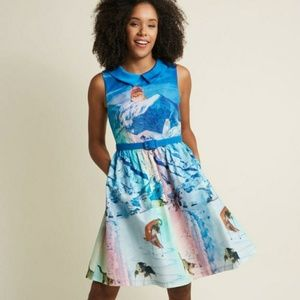 Modcloth 1X Whimsy Without End Snow Cats Dress